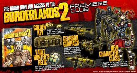 Borderlands 2 Premiere club preorder